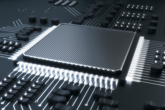 Abstract gray chip background. Circuit, technology and hardware concept. 3D Rendering.