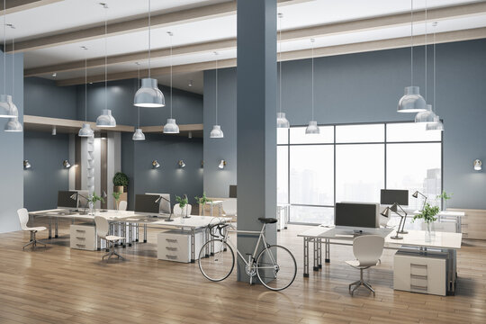 Spacious coworking concrete office interior with city view, wooden flooring and daylight. 3D Rendering.