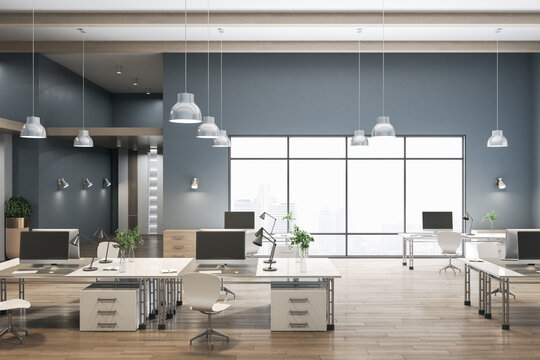 Luxury coworking concrete office interior with city view, wooden flooring and daylight. 3D Rendering.