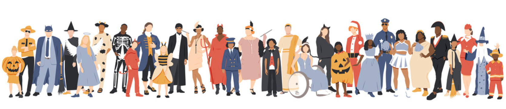 Happy Halloween banner. People in different costumes.