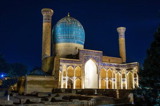 Night panorama of the Gur Emir mausoleum in Samarkand, Uzbekistan