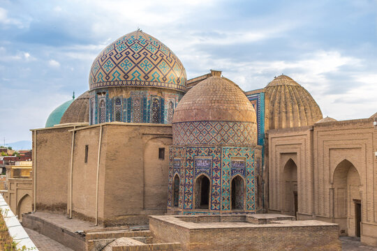 Mausoleums of the Shakhi-Zinda complex, Samarkand, Uzbekistan. In the foreground are the Octahedron and Shirin-Bika-aga mausoleums. Included in UNESCO