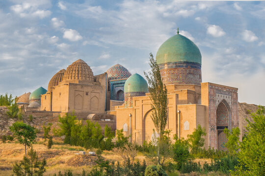 Panorama of the mausoleums of the Shakhi-Zinda complex in the sunbeams of the sunset. Buildings were built in XIV-XV centuries. Included in the UNESCO heritage. Shot in Samarkand, Uzbekistan