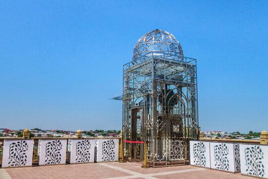 Elevator made in Central Asian style near observation deck of Hazrat Khizr Mosque, Samarkand, Uzbekistan