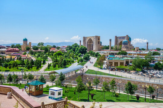 Panorama of Samarkand, Uzbekistan. Parks and pedestrian streets are visible. 15th century Bibi Khanym historical complex is visible in distance