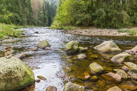 Boulders in the stream near Srni in the Sumava mountains, Czech Republic