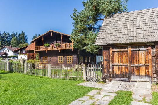 Traditional wooden houses in the center of Volary, Czech Republic