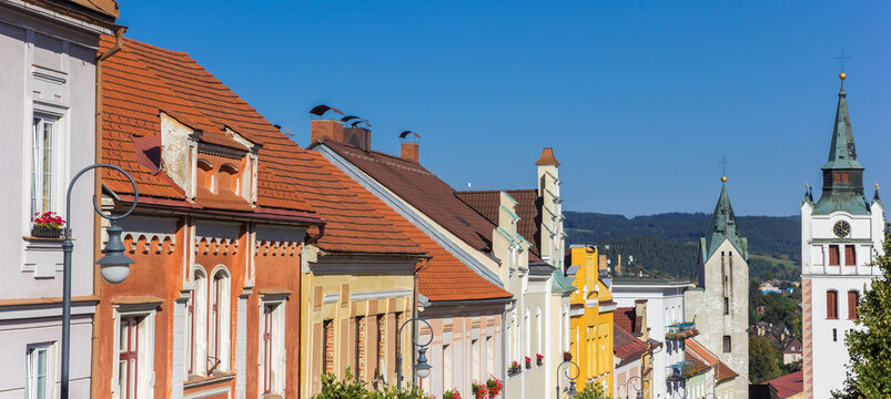 Panorama of the historic town center of Vimperk in the Sumava mountains, Czech Republic