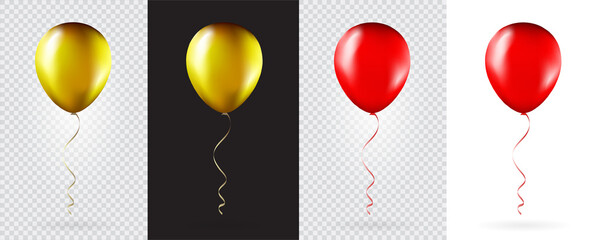 Obraz Big Set of Gold and Red balloons on transparent white background. Mockup for balloon print. Vector. - fototapety do salonu