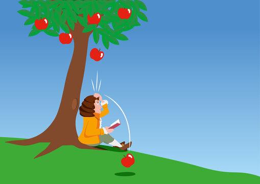 La découverte scientifique de Newton qui comprend le principe de la gravitation, en recevant une pomme sur la tête