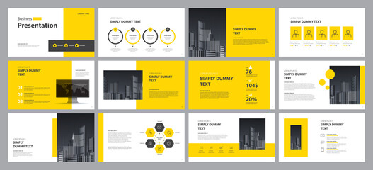 Fototapeta yellow business presentation template design backgrounds and page layout design for brochure, book, magazine, annual report and company profile, with info graphic elements graph design concept obraz