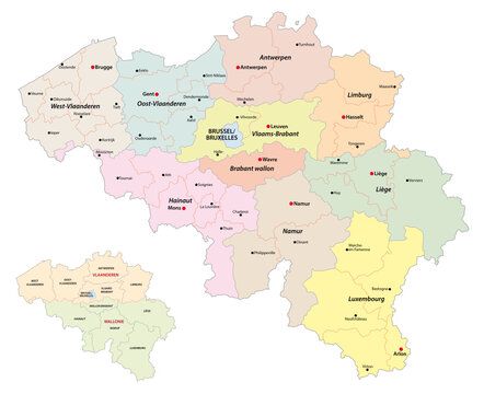 administrative vector map of belgium regions, provinces and districts