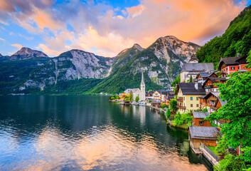 Hallstatt, Austria. Hallstatter See or Hallstatt Lake and the Old Town at sunrise.