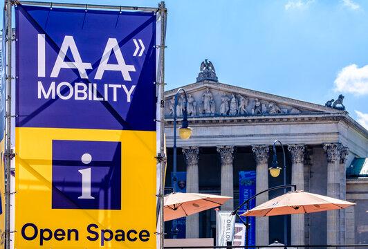 Munich, Germany - September 6: sign of the IAA (Internationale Auto Ausstellung - translation: international auto exhibition) trade fair in Munich on September 6, 2021