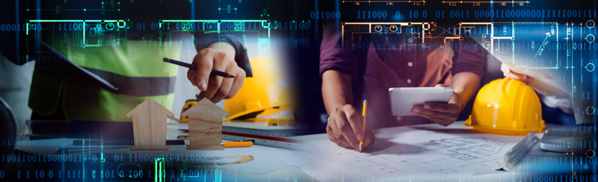 Engineers or architects is watching on model building and blueprint in working site.Construction and structure concept.