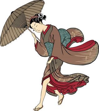 浮世絵 傘をさしている少女 その4