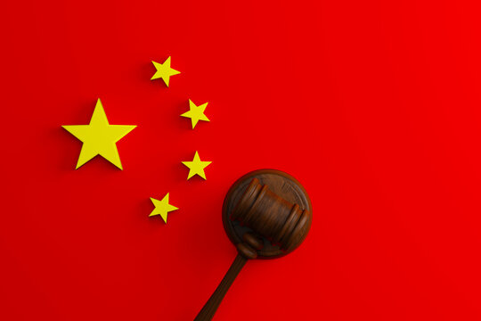 Top view of judge gavel flag of China. Chinese court conceptual. 3D illustration
