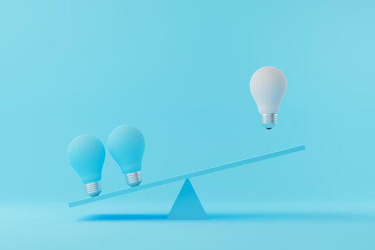 Light bulb floating between light blue lightbulb on seesaw. Creative thinking ideas and innovation concept. 3d illustration