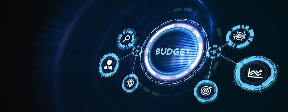 Budget planning business finance concept on virtual screen interface. Business, technology, internet and networking concept. 3d illustration
