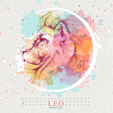 Modern magic witchcraft card with astrology Leo zodiac sign. Hand drawing Lion head illustration