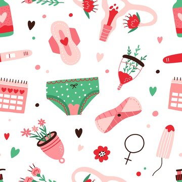 Seamless menstruation pattern with period blood, woman's panties, menstrual cup, reusable pad, tampon and uterus on white background. Repeating texture. Colored flat vector illustration for wrapping