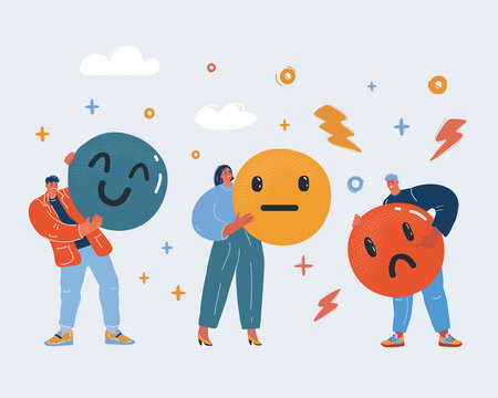 Vector illustration of ?ustomer satisfaction meter with different emotions. Three people hold emoji