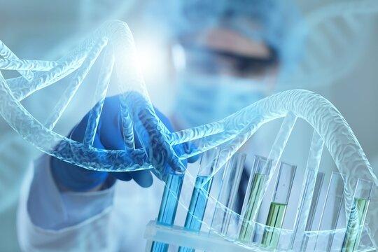 Doctor or scientist holding glass tube, sample inside, healthcare, biological system