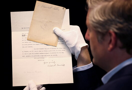 A typed letter written by former British Prime Minister Winston Churchill, sent to Sir Frederick Ponsonby in 1929, soon to be auctioned at Bonhams in London