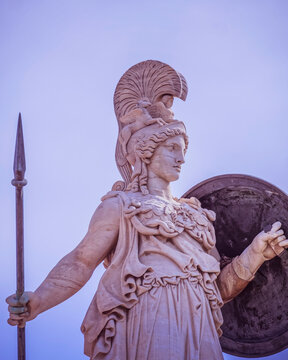 Athens Greece, Athena, the ancient Greek goddess of wisdom and knowledge, filtered image