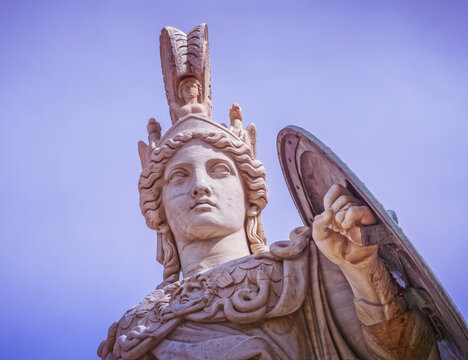 Athens Greece, Athena the ancient Greek goddess of wisdom and knowledge, filtered image
