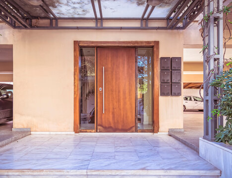 contemporary house front entrance solid wood and glass door