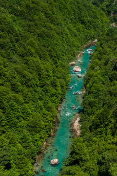 Tara River Canyon or Tara River Gorge located between high mountains. Canyon is the largest and deepest canyon in Europe.