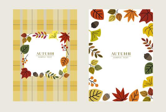 秋の葉っぱのカード イラスト素材 / vector eps