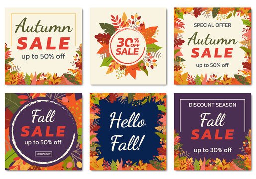 Autumn or Fall sale banner, background set with colorful leaves. Autumn discount, Hello Fall social media poster design templates with foliage frame. Vector illustration.