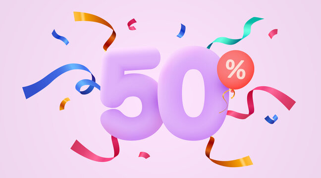 50 percent Off. Discount creative composition. 3d sale symbol with decorative confetti. Sale banner and poster.