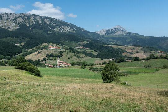 Uribarri neighborhood in Aramaio valley, Basque Country at Spain