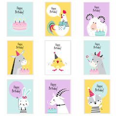Fototapeta Happy Birthday Cards with Farm Animals with Cake and Gift Box Greeting and Congratulating Vector Set obraz