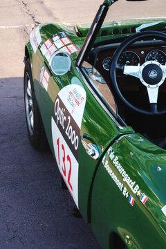 Vintage green Lotus retro racing car interior