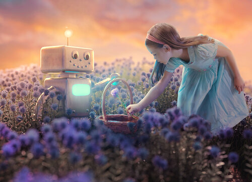 Little girl and robot