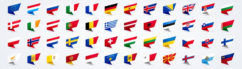 Obraz Vector Illustration Giant Europe Flag Set - fototapety do salonu