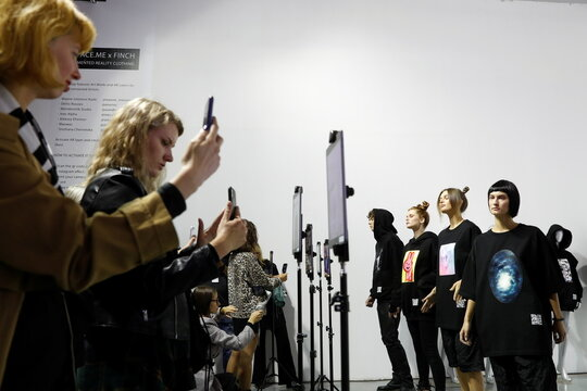 Presentation of augmented reality collection by FINCH brand and Ukrainian AR studio FFFACE.ME during Ukrainian Fashion Week in Kyiv