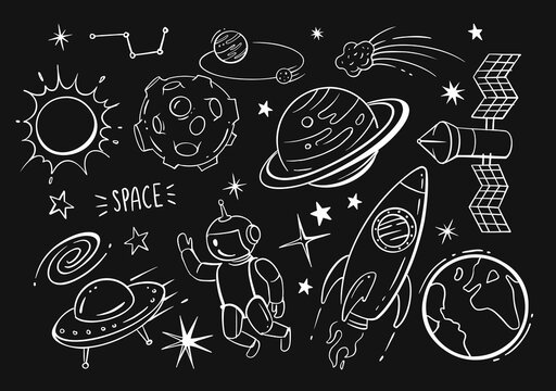 Hand drawn vector doodles cartoon set of space on black background.
