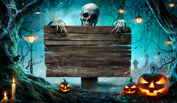 Halloween Party Card - Pumpkins And Skeleton In Graveyard At Night With Wooden Board
