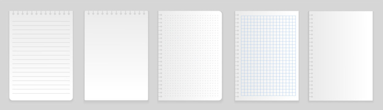 Set of notepapers. Collection of sheets on which musicians and composer record their songs. Melody, music and rhytm. Graphic elements for website. Flat vector illustration isolated on white background