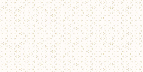 Obraz Golden vector seamless pattern with small linear triangles. Subtle minimalist background with scattered tiny shapes. Luxury modern gold and white ornament texture. Trendy modern minimal repeat design - fototapety do salonu