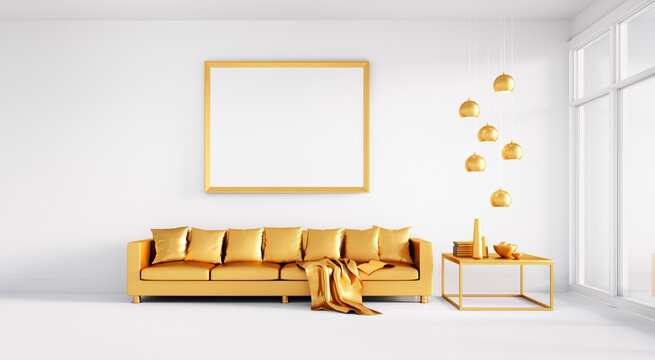 White lounge room with golden sofa