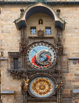 astronomical clock in Prague, Czech republic. Travel and sights of city breaks. landmarks, travel guide and postcard