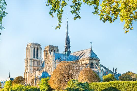 Notre Dame de Paris - famous cathedral with blue sky