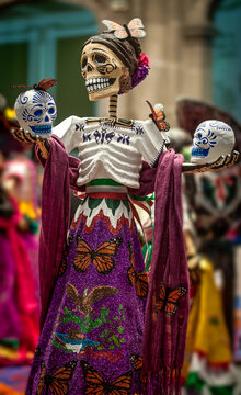 Skeleton in Chiapas dress at the Day of the Dead festival