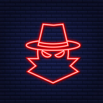 Cyber attack. Data Phishing with fishing hook, laptop, internet security. Neon style. Vector illustration.